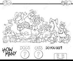 猫と犬動物文字グループ塗り絵子供のカウントの教育ゲームの黒と白の漫画イラスト