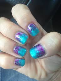 Purple And Teal Nail Designs Turquoise And Purple Glitter Nails Pretty Summer Nails