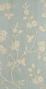 hermione embroidered curtain fabric sea blue linen curtain fabric with embroidered cream gold fl design