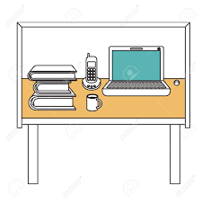 basic office desk. Silhouette Color Sections Of Desk Home Office Basic Vector Illustration Stock - 79348221 Z