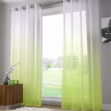 harmony modern ring top voile curtain panel lime green
