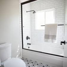 modern bathroom subway tile. Perfect Tile Black And White Bathroom With Patterned Floor Tile Subway Glass  Door Shower Intended Modern U