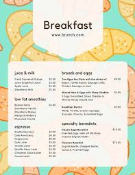 Sample Breakfast Menu Template Stunning Customize 48 Breakfast Menu Templates Online Canva