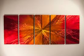 red and yellow burst wall art abstract panel canvas wall art vinyl decals ready to hang