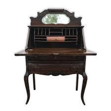 antique victorian tiger oak mirrored drop front secretary writing desk