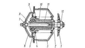Система охлаждения двигателя КАМАЗ Реферат Рис 2 Термостат 1 5 клапаны 2 4 пружины 3 6 стойки 7 12 гайки регулировочные 8 шток 9 баллон 10 масса активная церезин 11