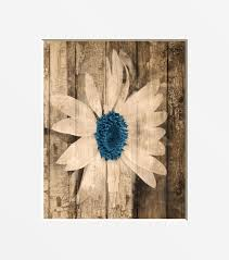 country wall decor sunflower brown blue wall art rustic