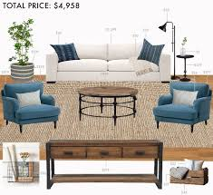 modern farmhouse furniture. budget living room modern farmhouse emily henderson furniture