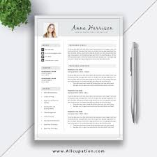 Modern Resume Template 2 Pages 2019 Job Resume Template Cover Letter Word Resume Professional Resume Design Instant Download Anna