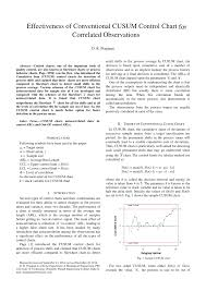 Pdf Effectiveness Of Conventional Cusum Control Chart For