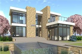 modern house. House Design In The Modern Style With Stained Wood Lap Siding And Stone Exterior.