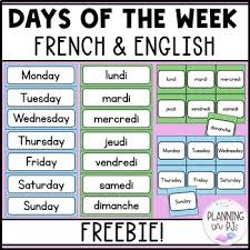 French Days Of The Week Days Of The Week Calendar Cards French English Bilingual Polka Dot Theme Free