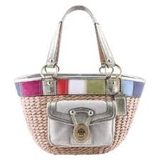 Coach Legacy Stripe Straw Multicolor Tote Bag