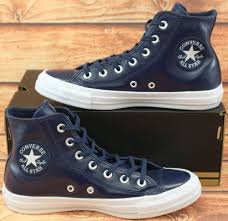 converse chuck taylor all star uni leather navy high top trainers sneakers