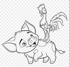 Enjoyable Moana Coloring Pages Printable Free New Baby Pua And Hei