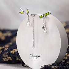 Thaya Real S925 Sterling Silver Earring Green Bamboo Dangle ...