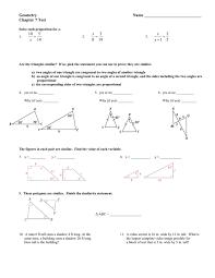 1=3.5 23 £ = 9yçt= 12 yu 26. Geometry Name Chapter 7 Test
