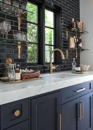 images black subway tile backsplash black subway tile kitchen open shelving black subway tile backsplash pictures