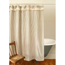 ticking stripe shower curtain captivating cottage shower curtains inspiration with ruffled ticking stripe shower curtain a