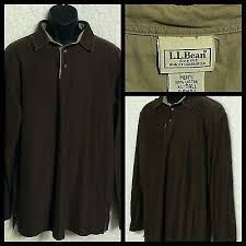 vintage ll bean mens brown long sleeve rugby polo pullover shirt size xl tall