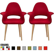 2xhome set of 2 red mid century modern upholstered fabric organic accent living room