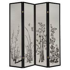 Legacy Decor Black 4-Panel Plum Blossom Screen Room Divider - Walmart.com