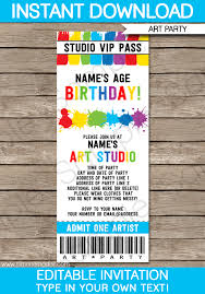 Party Ticket Invitations Interesting Art Party Ticket Invitations Paint Party Template
