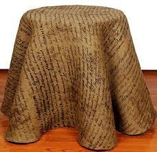 indentured burlap tablecloth 60 inch round