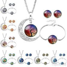 hollow carved moon elf peter pan life tree time gem gemstone necklace earring bracelet pendant girl