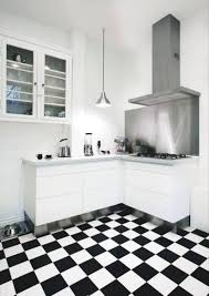 modern kitchen black and white. Checkered Black And White Kitchen Tile Floors Installations With L Shaped Cabinets Pendant Lights Also Wall Painted Interior Modern A
