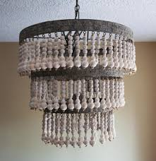 grey beaded chandelier beaded pendant light wooden beads wood and nickel chandelier barnwood chandelier