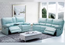 a maui light blue reclining sofa and reclining console loveseat leather match