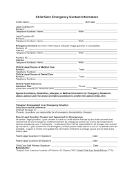 template for emergency contact information child care emergency contact form 2 free templates in pdf