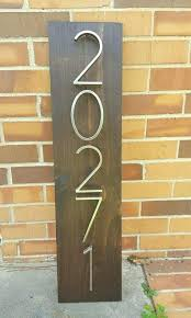 address plaque wooden house numbers sign vertical number plaques
