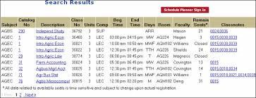 College Class Scheduler Class Search