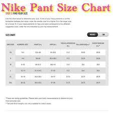 Nike Size Chart Nwt