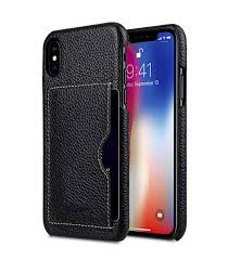 premium leather card slot back cover case for apple iphone x black lc