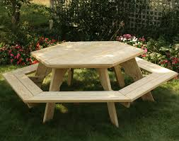 furniture awesome picnic table pine detached benches redwood with plans round wooden wood tables ft
