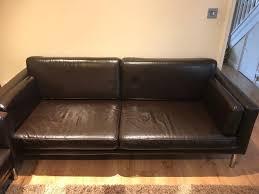 ikea sater faux leather sofa
