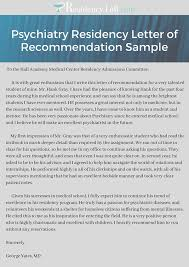 recommendation sample psychiatry residency letter of recommendation sample on pantone