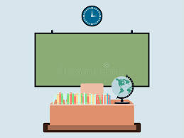 classroom table vector. download school classroom in flat style. board on the wall, books table vector o
