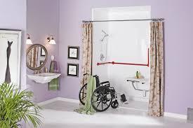 handicap accessible bathroom design. Wheelchair Accessible Handicap Bathroom Design With Pink Earth Modern