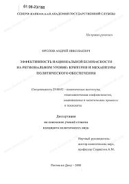 Диссертация на тему Эффективность национальной безопасности на  Диссертация и автореферат на тему Эффективность национальной безопасности на региональном уровне критерии и механизмы