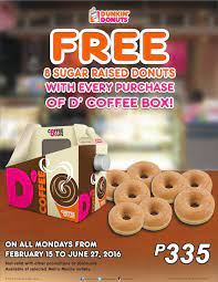 Dunkin' donuts has made a reasonable effort to provide nutritional and ingredient information based upon standard product formulations and. Dunkin Philippines On Twitter Grab A D Coffee Box And Get 8 Free Sugar Raised Donuts This Coffeedonutmondays