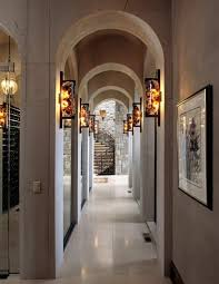 contemporary hallway lighting. Basement Hallway Illuminated With Contemporary Wall Sconces : Lighting Fixtures That Add Visual Of Your