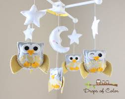 baby crib mobile baby mobile nursery owl mobile yellow
