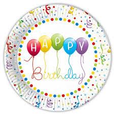 Happy Birthday Streamers Paper Plates