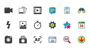 Photo Video Icons Camera Photos And Frame Signs Flash Timer
