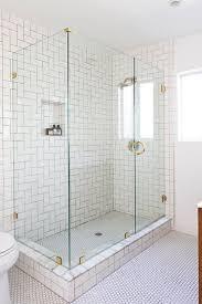 step ladder subway tile in shower