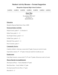 High School Resume Examples For College Admission Sample College
